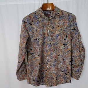Tori Richard Blue Brown Paisley Long Sleeve Shirt
